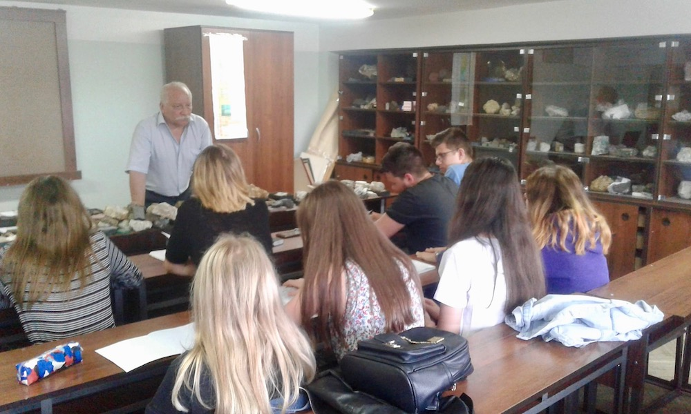 Ihor works with his students on identifying rocks in Lviv, Ukraine
