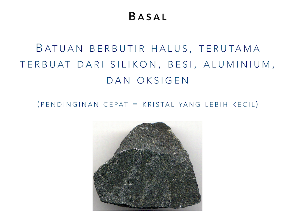 "Slide showing the definition for ""basalt"" in Indonesian only, as an image takes up the additional space"
