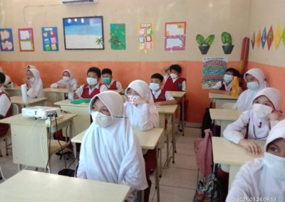 Students in veils and masks sit in a classroom, listening to a presentation