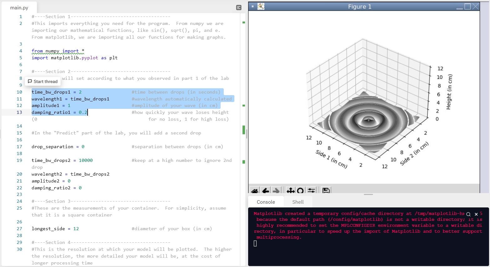Split screen showing Python coding on the left, with model assumptions that students can modify on the left, and the visual model output shown on the right