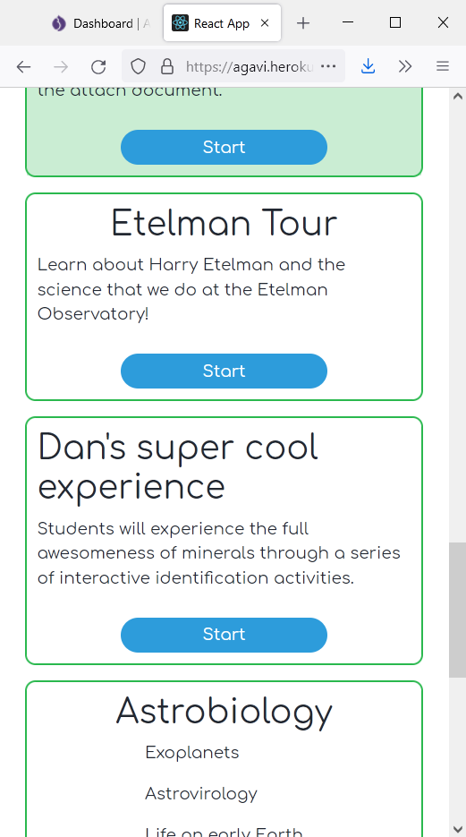 A list of activities in green boxes, including Etelman Tour, Dan's super cool experience, and Astrobiology, with Start buttons to start each experience
